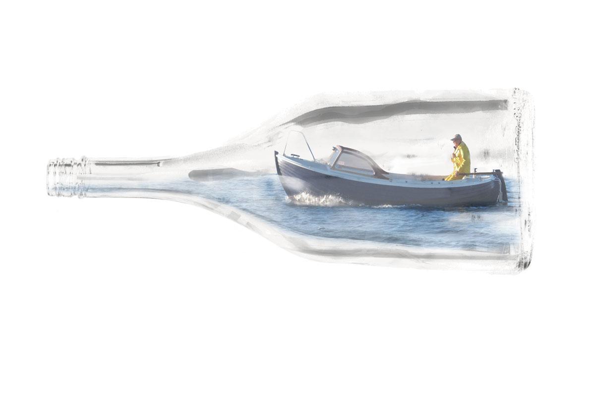 Kurt från Koster i en flaskskepp