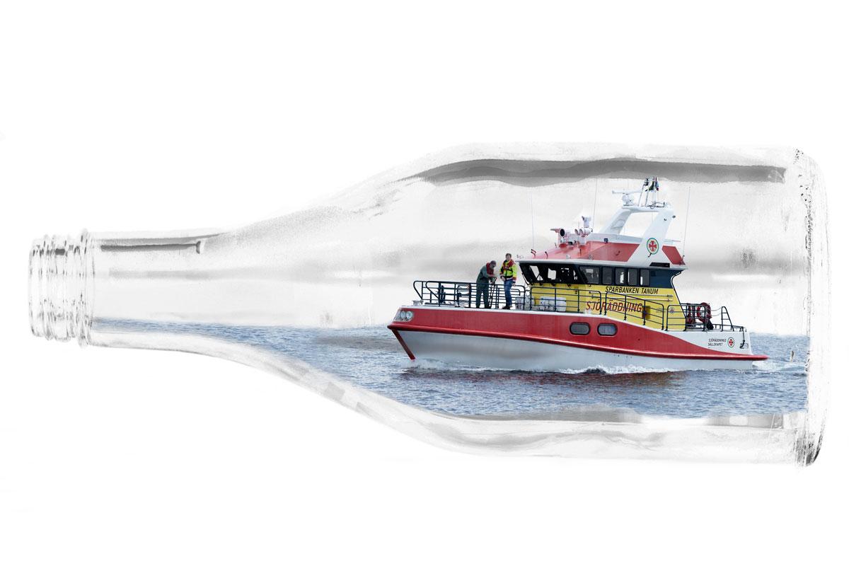 SSRS räddningsbåt som flaskskepp